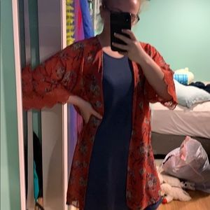 Blue and Coral Dress (Cardigan included)